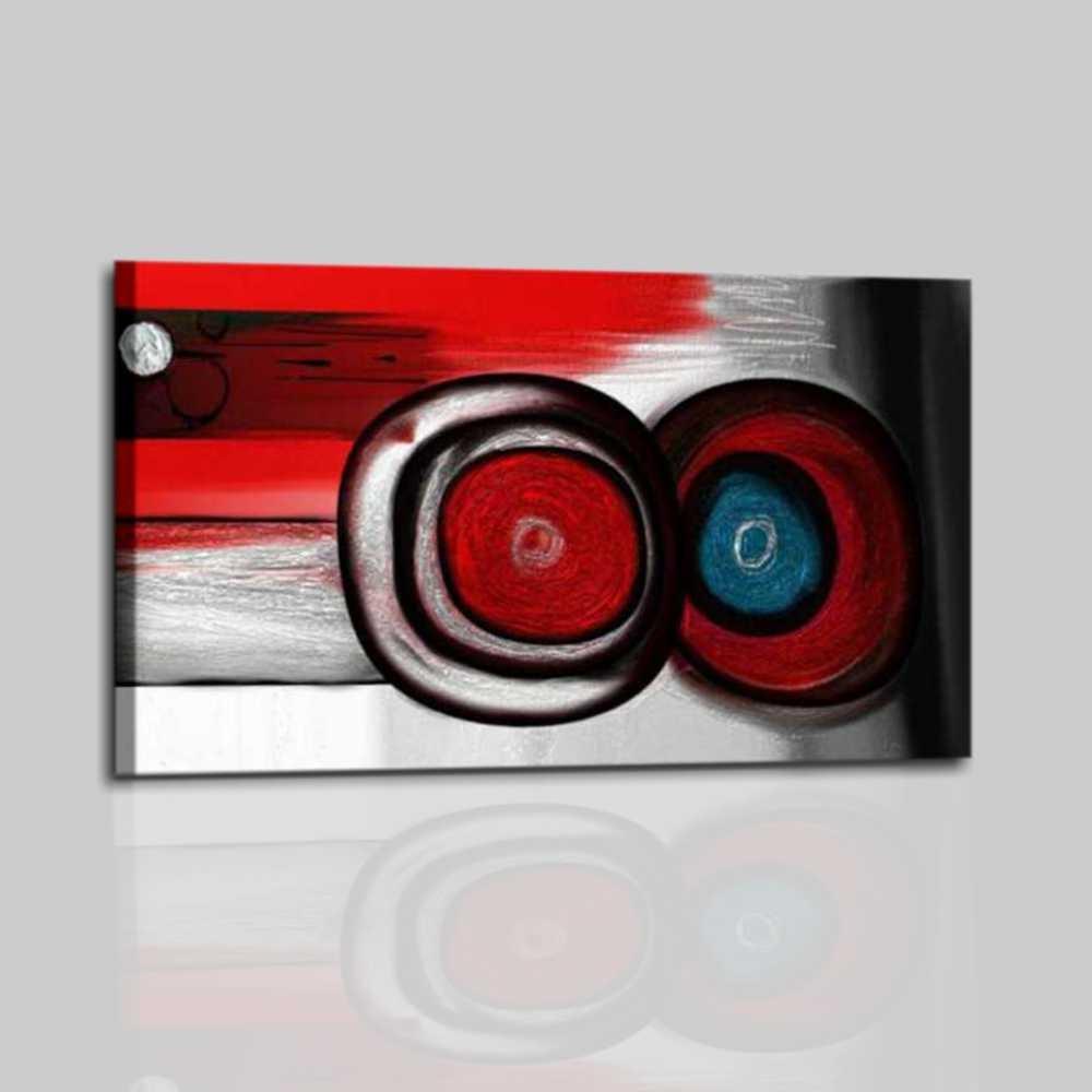 Quadri astratti moderni dipinti a mano colore rosso nero for Quadri materici astratti