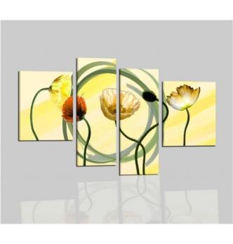 ZEUS - Quadri con fiori dipinti a mano colore fondamentale giallo