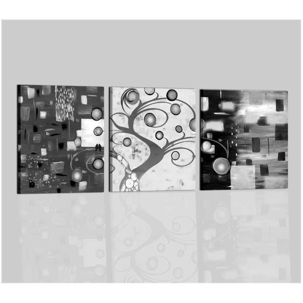 Quadro moderno trittico in bianco e nero per saloni e camera da ...