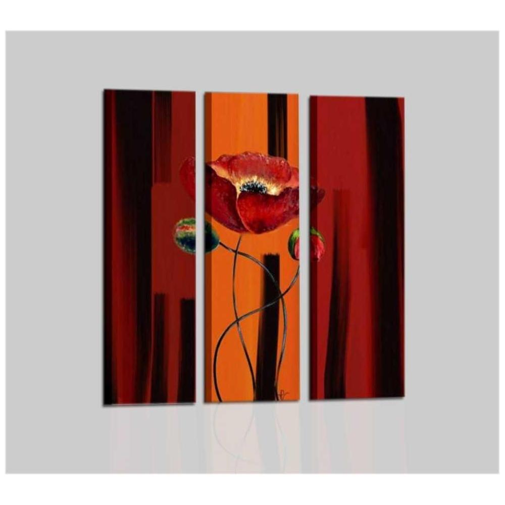 Quadri moderni dipinti a mano con fiore colore arancione