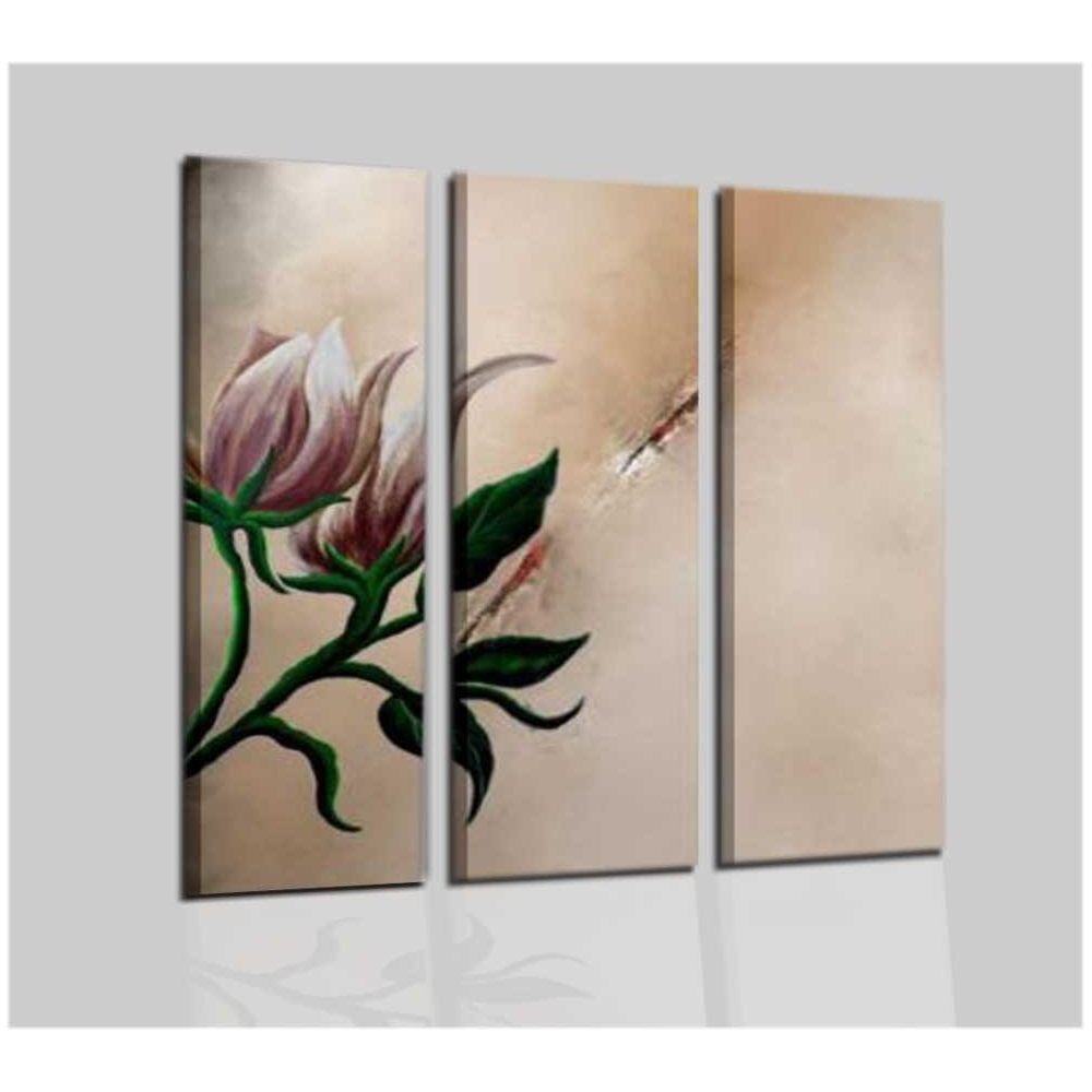TUDON - Quadri moderni beige con fiore