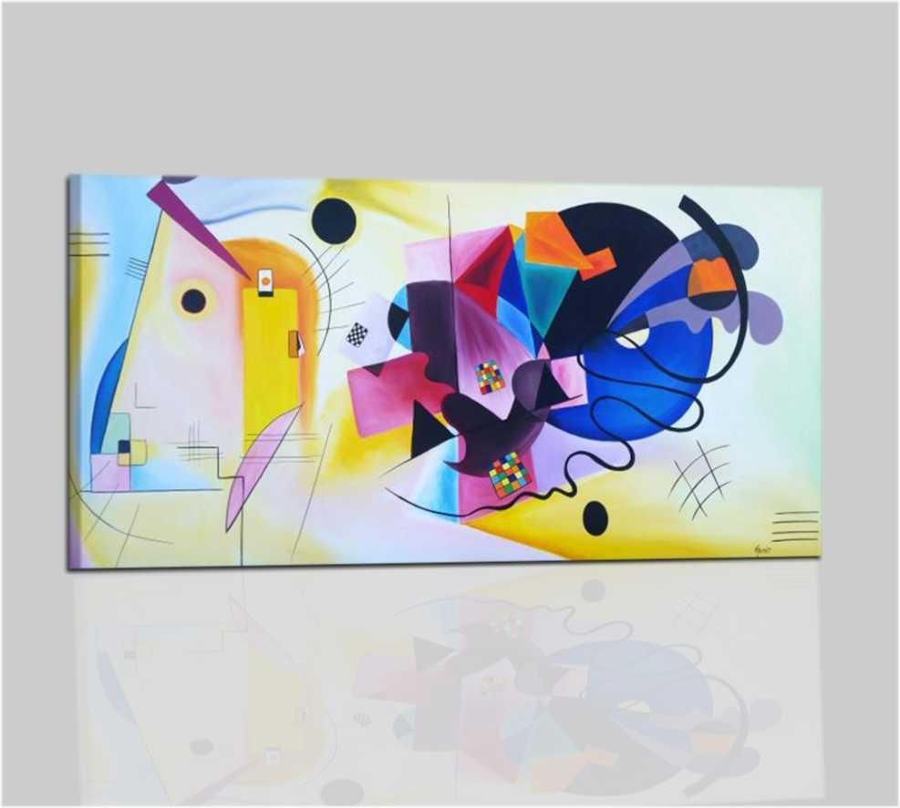 Quadro astratto kandinsky giallo roso blu for Quadri moderni colorati