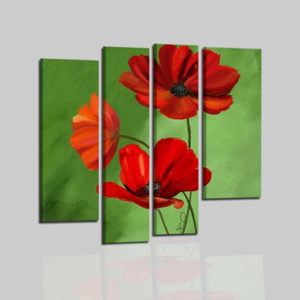 quadri con fiori su fondo verde