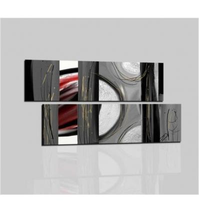 Quadri moderni astratti con rilievo materico Colori grigio rosso ...