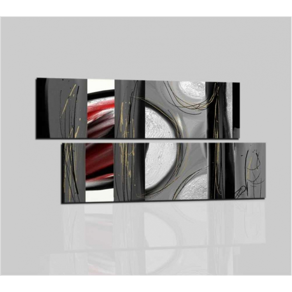 Quadri moderni astratti con rilievo materico Colori grigio rosso bianco