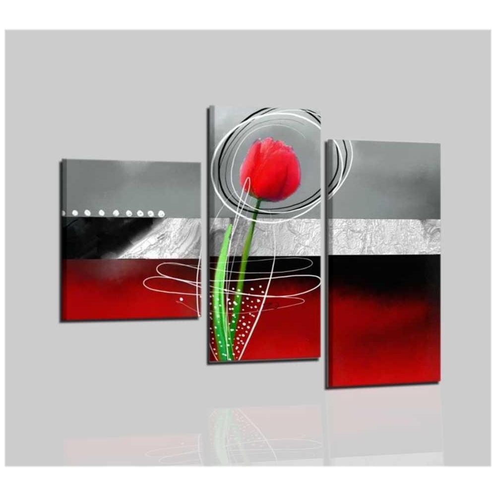 Trittico di quadri astratti in rosso e nero con fiore