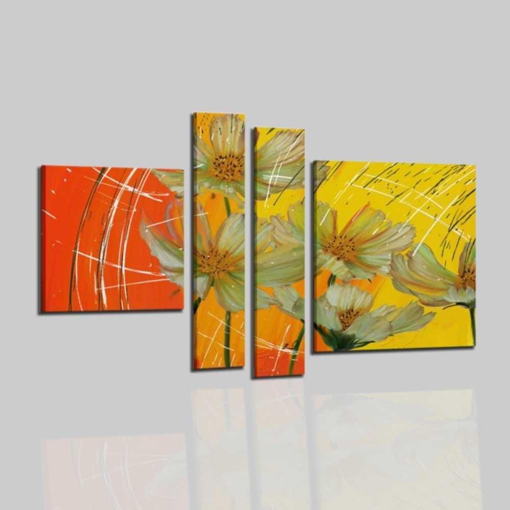 Quadri moderni astratti dipinti a mano olio su tela con for Quadri olio fiori