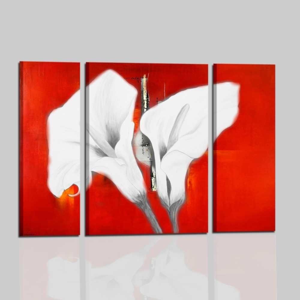 Quadri con fiori calle colori fondamentali rosso e bianco