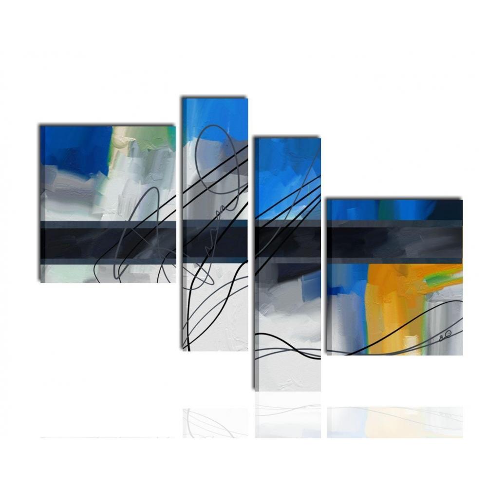 Quadri Per Salotto : Quadri dipinti a mano astratti moderni grigio blu azzurro