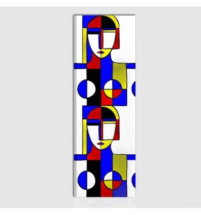 Quadro dipinto a mano astratto - Ispirazione a Mondrian