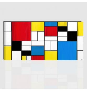 Quadro astratto dipinto a mano - Omaggio a Mondrian