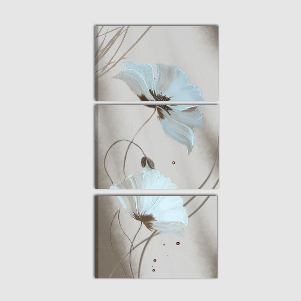 Quadro trittico verticale con raffigurazione di fiori for Quadri moderni in verticale