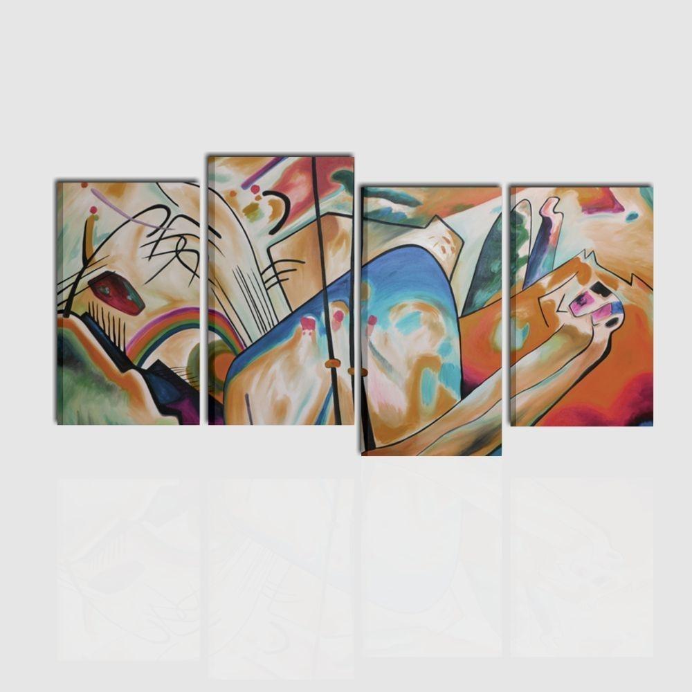 Quadro astratto dipinto a mano linea kandinsky for Quadri astratti moderni verticali