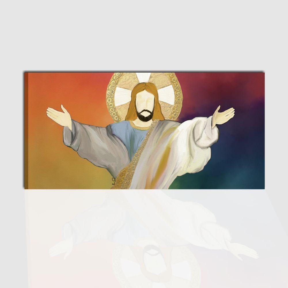 Quadro capezzale religioso dipinto a mano per la camera da letto cristo redentore - Quadro per camera da letto ...