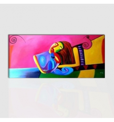 MAIRA -  Dipinto moderno per arredo. Donna con gatto