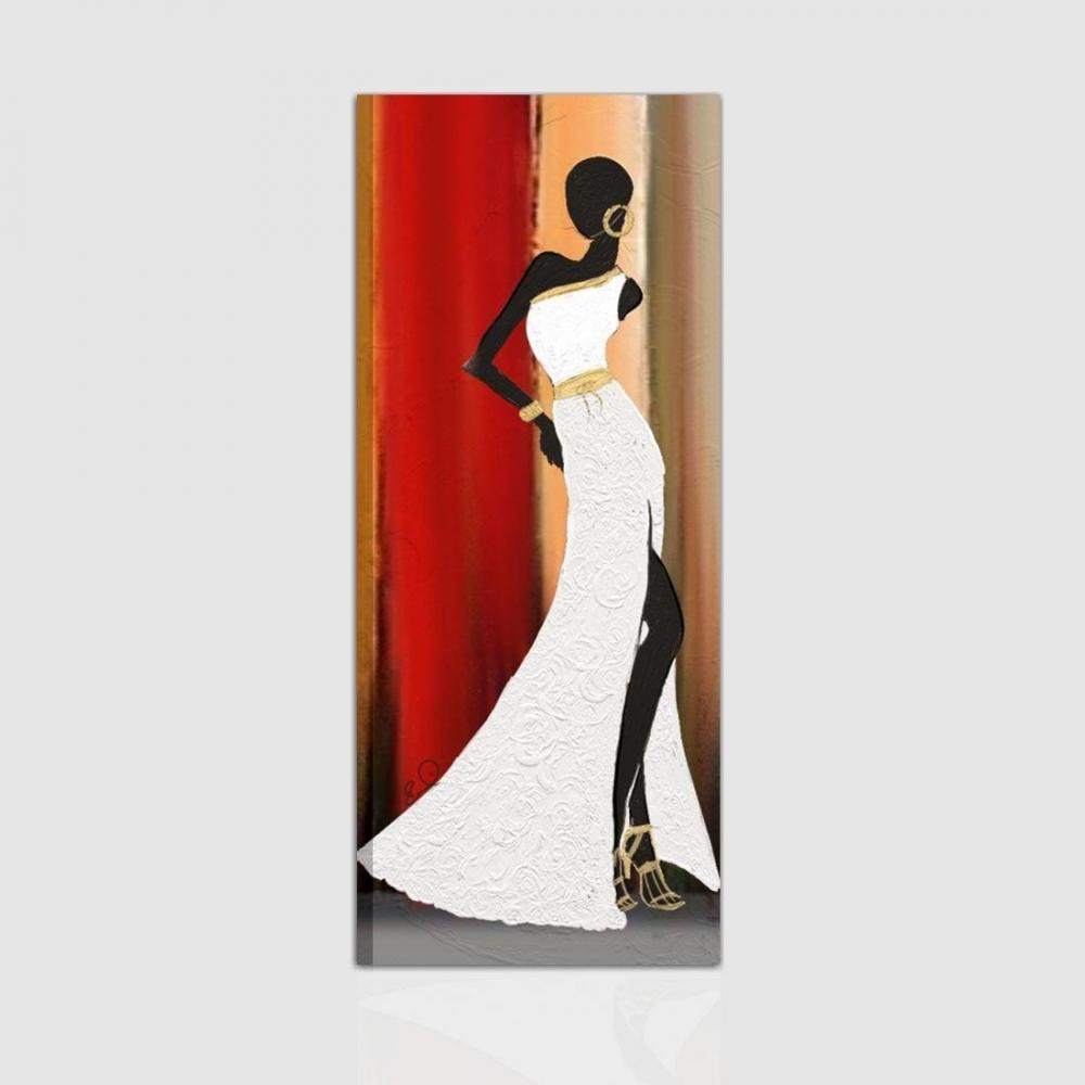 Quadro moderno dipinto a mano verticale con materico donna for Quadri moderni in verticale