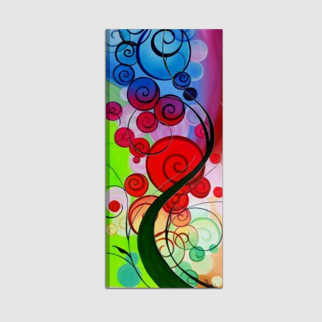 Quadri moderni dipinto a mano colorati con albero for Quadri componibili moderni