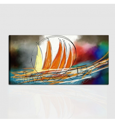 quadro moderno dipinto a mano con barche a vela orizzonti