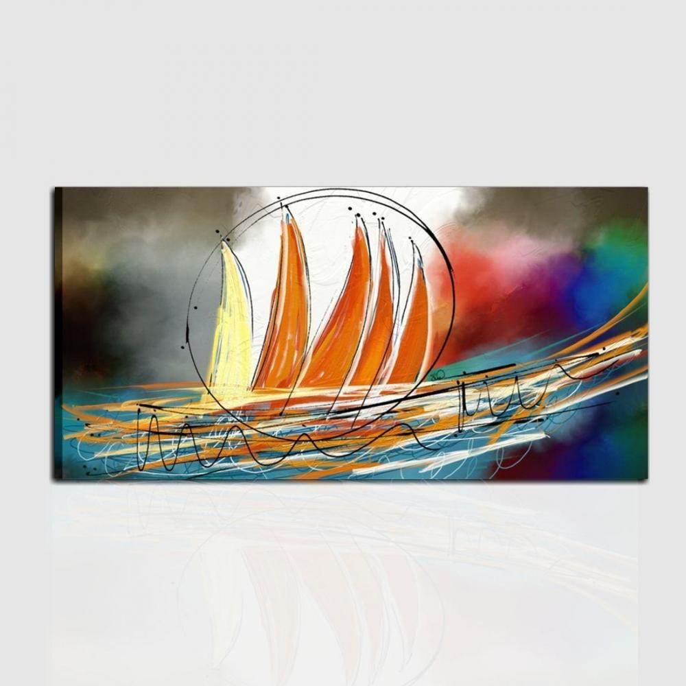 Quadro moderno dipinto a mano con barche a vela orizzonti for Dipinti a mano moderni