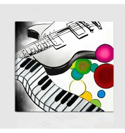 Quadro musica . chitarra e tastiera