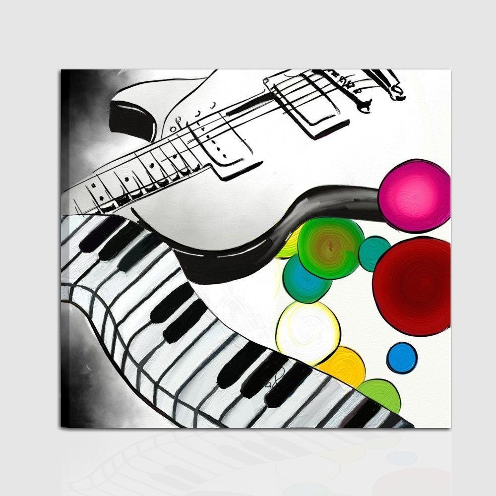 Un cuadro moderno que rafigura musica la guitarra y el teclado