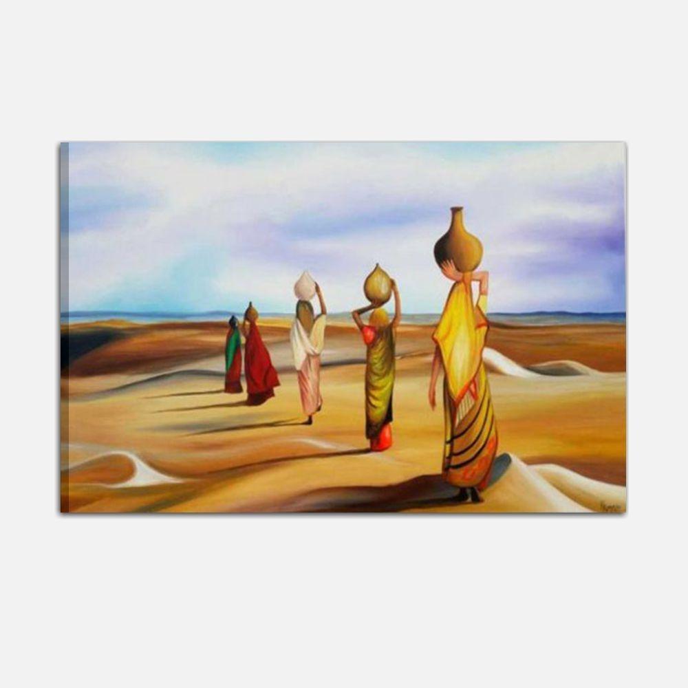 Quadro moderno dipinto a mano su tela donne nel deserto for Dipinti figurativi moderni
