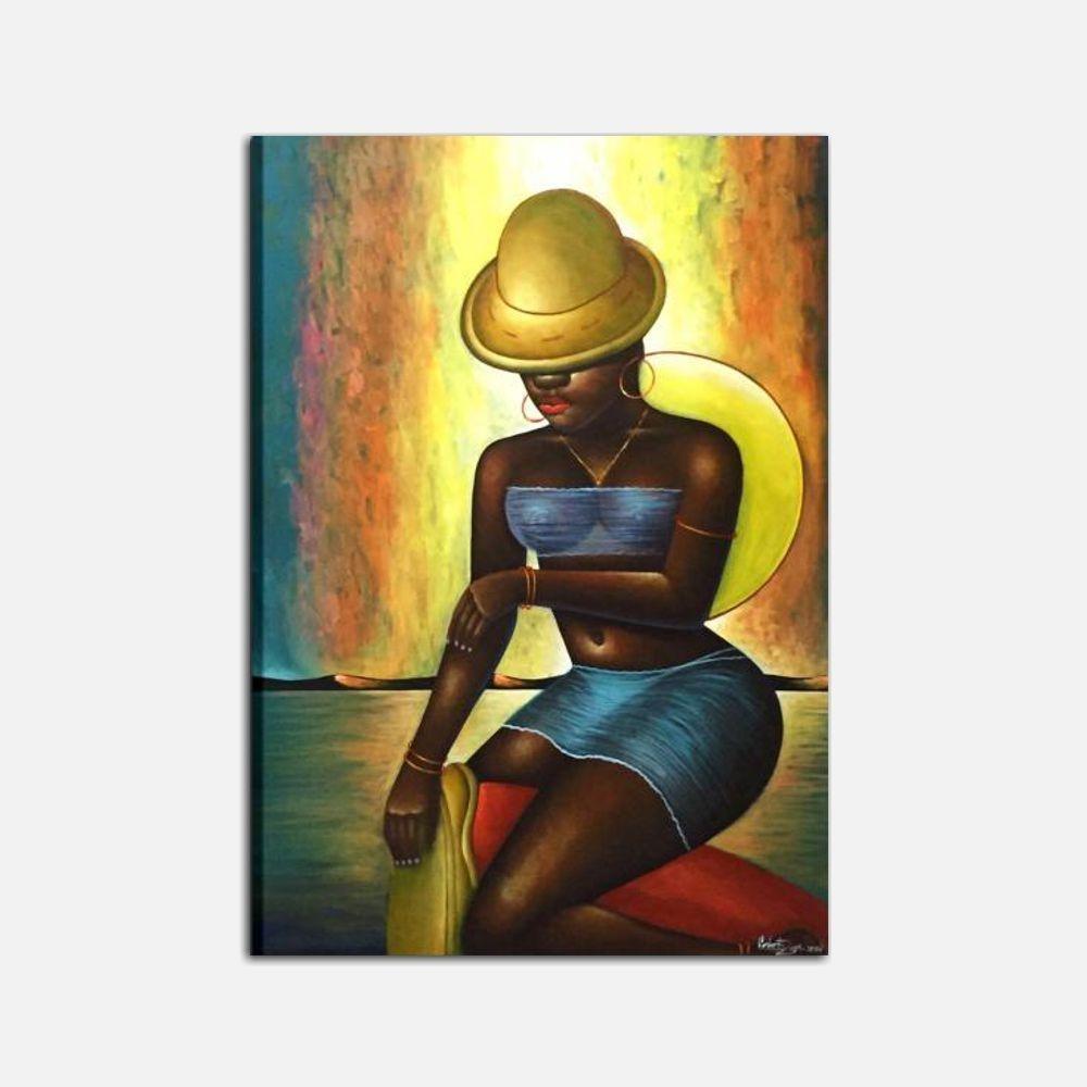 Cuadro moderno estilo etnico mujer 3 i colori del caribe - Cuadros estilo moderno ...