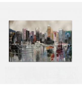 Quadro dipinto a mano con città