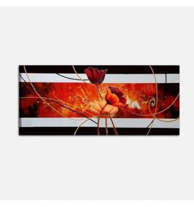 SELVAGGIO - Quadro moderno rosso nero con fiori