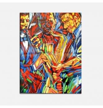 STRUMENTI A FIATO - Quadro moderno dipinto a mano musicale