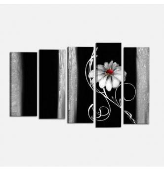 ALINA - Dipinto moderno materico con fiore