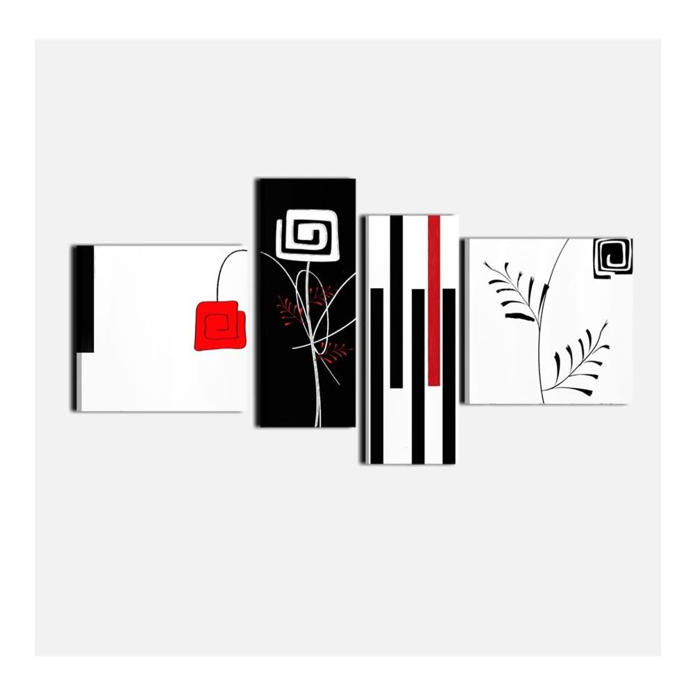 Quadri moderni dipinti a mano con colori predomimanti bianco rosso e ...