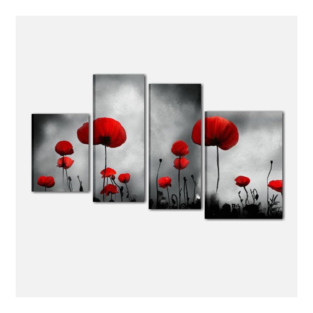 Quadri moderni con elementi floreali papaveri infinity for Quadri con papaveri rossi