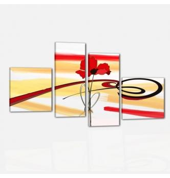 DOMUS - Quadri astratti quattro pannelli dipinto a mano