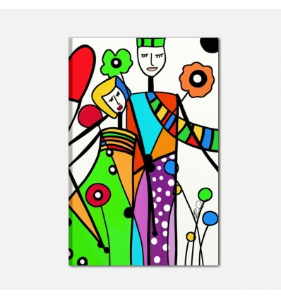 Quadro moderno dipinto a mano pop art - mamma e papà