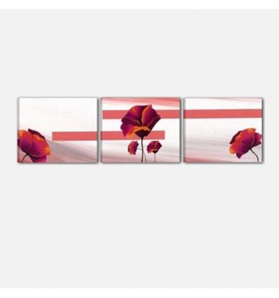 ANGELICA - Cuadros tripticos abstractos con flores