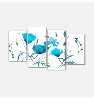 ARABELLA - Modern painting flowers azure