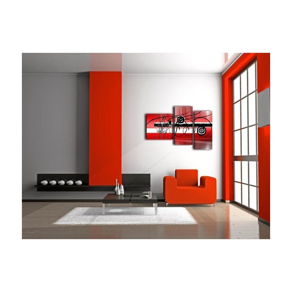 Quadri a tre pannelli trittico rosso for Quadri trittici moderni