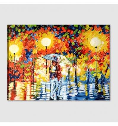 RAIN 5 - Quadro moderno fidanzati con ombrello sotto la pioggia