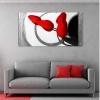 RUSEL - Quadro moderno astratto grigio rosso con materico e glitter