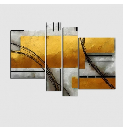 Quadri moderni astratti grigio oro - ADONE